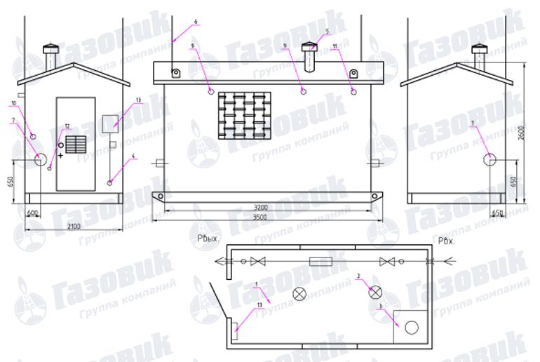 Габаритный чертеж ПГБ-200-2У1